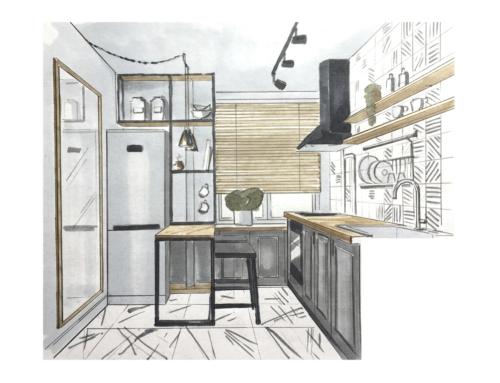 Дизайн проект квартиры в стиле скандинавский лофт